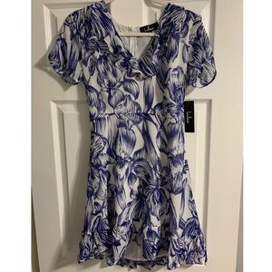 Lulu's Blue Floral Flowy Dress